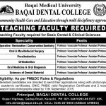 Teaching Faculty Required for Baqai Dental College