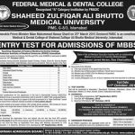 Admissions of MBBS in Federal Medical and Dental College