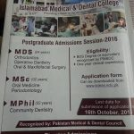MDS MSc MPhil at Islamabad Medical & Dental College