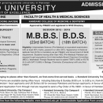 MBBS and BDS Admissions at Hamdard University