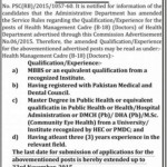 Posts of Health Management Cadre B-18 Doctors of Health Department Balochistan