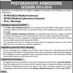 Post Graduate Admission at University of Health Sciences Lahore