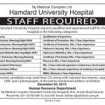 Staff required at Hamdard University Hospital