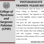 NOTIFICATION OF CPSP FOR POSTGRADUATE TRAINEES