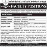 Faculty Required at Islamabad Medical and Dental College