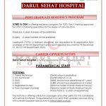 FCPS Part 2 Residency in Medicine and Surgery at Darul Sehat Hospital and Liaquat College of Medicine and Dentistry for 2016