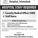 Hospital Staff Required at Al Nafees Medical College and Hospital Islamabad