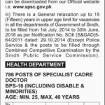 Posts in Health Department Government of Sindh 2016