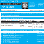 Notification of FCPS Part 1 Exam April 2016
