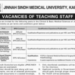 Medical Vacancies at Jinnah Sindh Medical University Karachi 2016