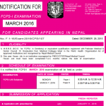 Notification of FCPS Part 1 March 2016 for Nepal