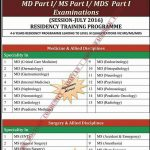 Residency Training Programme for MD Part 1/ MS Part 1/ MDS Part 1 by Shaheed Zulfiqar Ali Bhutto Medical University Islamabad