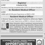 Jr. Consultant ENT, Sr. Registrar ENT, Registrar Required at Patel Hospital