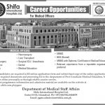 Career opportunities for Medical Officers and Dental Surgeons at Shifa International Hospital 2016