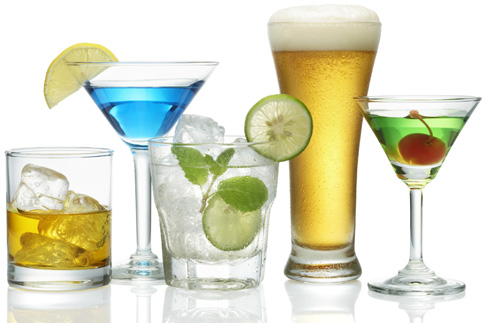various type of alcoholic drinks isolated on white