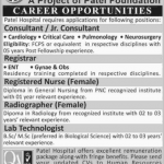 Consultants/Jr. Consultants, Registrar, Registered Nurse Radiographer and Lab Technologist Jobs at Patel Hospital 2016