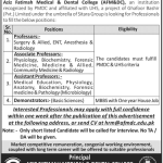 Medical Faculty required at Aziz Fatima Medical and Dental College Faisalabad 2017