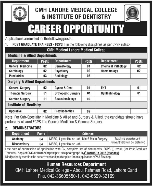 Jobs-in-CMH-Lahore-Medical-College--Institute-of-Dentistry-Lahore-Cantt-27-December-2015
