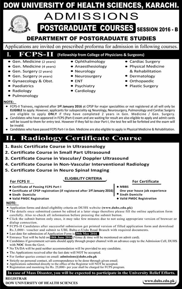 Fcps Part 2 Training And Radiology Certificate Course At Dow